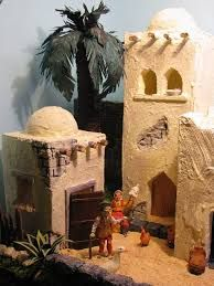 Resultado de imagen para case presepe palestinese Christmas Nativity, Christmas Home, Christmas Crafts, Christmas Decorations, Mini Cabins, Desert Homes, Craft Patterns, Beautiful Christmas, Scenery