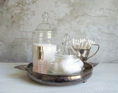 Vintage Apothecary Jars with Glass Lids Clear Glass Bathroom Glass Bathroom, Rustic Decor, Clear Glass, Farmhouse Chic, Apothecary Jars, Vintage Farmhouse, Decorative Jars, Vintage, Glass Apothecary Jars