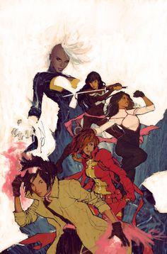 X-men: Ororo Munroe (Storm), Jubilation Lee (Jubilee), Betsy Braddock (Psylocke), Monet St. Croix (M) & Rachel Grey (Marvel Girl)