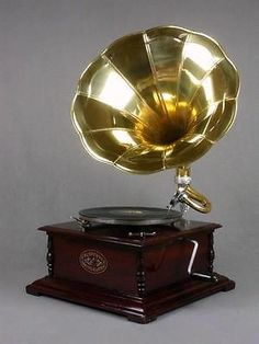 Grammophon Gold-version Horn Gramophone Retro Music-machine Vintage Phonograph