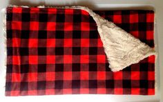 Buffalo Check Plaid Red Minky Blanket-Cabin Outdoors Woodland Adventure Nursery-Designer Fabric-Baby Shower Gift-Bedding-Modern Nursery