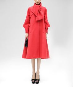 Another great find on #zulily! Red Flared Funnel Collar Coat #zulilyfinds