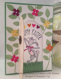 Stampin Up Secret Easter Garden door open - featuring the masking technique and using Crazy about You, Happy Easter Bunny and Hardwood. For more details see www.stampincolour.com