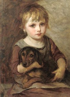 Mihaly Munkacsy Young Girld and her Dachshund painting for sale - Mihaly Munkacsy Young Girld and her Dachshund is handmade art reproduction; You can shop Mihaly Munkacsy Young Girld and her Dachshund painting on canvas or frame. Arte Dachshund, Dachshund Love, Munier, Wow Art, Whippets, Illustrations, Dog Life, Art History, Art For Kids