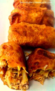 Bacon, Butter, Cheese & Garlic: Buffalo Chicken Eggrolls - To make heathier  sub Veg Oil with Olive Oil, Bake instead of frying, Shredded Pepper Jack Cheese