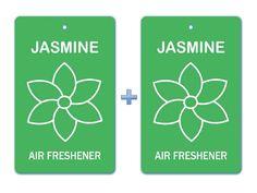 Jasmine Floral Air Freshener Paper Hanging Bar (Pack of 2)/ Car-Home-Office Natural Perfume Deodorizer