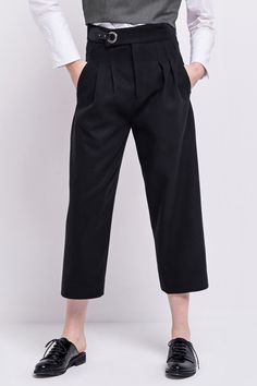 FRS Black Tapered Cropped Pants - FrontRowShop