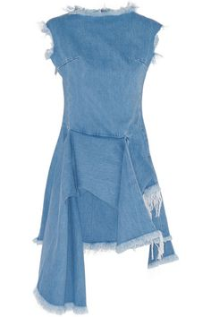 Marques' Almeida Asymmetric frayed denim mini dress #Marques'Almeida
