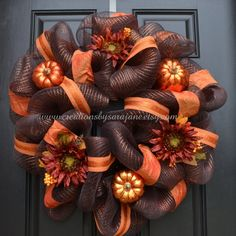 Fall+Mesh+Wreath++Fall+Harvest+Wreath+with+by+CreationsbySaraJane,+$75.00