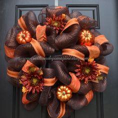 Fall+Mesh+Wreath++Fall+Harvest+Wreath+with+by+CreationsbySaraJane,+$75.00