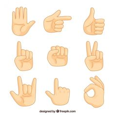 Pack of sign language Free Vector