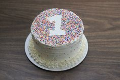 1st birthday cake. Chocolate cake with vanilla frosting and sprinkles!