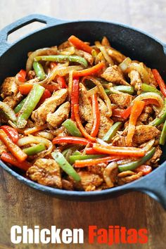Skillet chicken fajitas are so easy to make, and their seasoning is amazing. Sim… Skillet chicken fajitas are so easy to make, and their seasoning is amazing. Simply pan fry peppers and onions, then pan fry the chicken, mix and serve! Easy Chicken Fajitas, Healthy Chicken Recipes, Easy Healthy Recipes, Mexican Food Recipes, Easy Meals, Mexican Chicken Fajitas, Dinner Recipes, Oven Recipes, Breakfast Recipes
