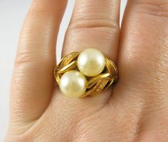Vintage Avon Golden Leaves and Faux Pearl Ring - Adjustable - Vintage Jewelry by FembyDesign