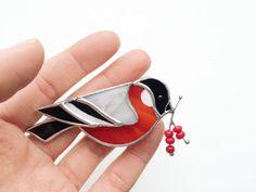 Bullfinch with Rowan Brooch Red Glass Bird by LumiereStudio