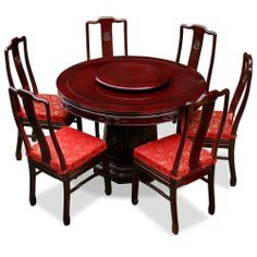 48in Rosewood Round Dining Table With 6 Chairs, Chinese Longevity Design    Cherry By ChinaFurnitureOnline