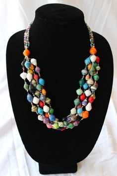 Crafts4kenya- my favorite charity! Paperbead multi-strand necklace on Etsy, $18.00