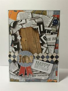 """Handmade birthday card using the Papermania Mr Mister collection. """"My friend John is a newspaper reporter so the newspaper and letter tile papers in the Mr Mister pack were perfect for this card!"""""""