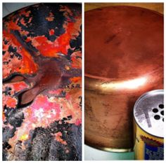 Bar Keepers Friend on  copper bottome cookware. Look at these results.