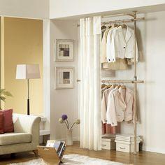 rangement de dressing avec rideau