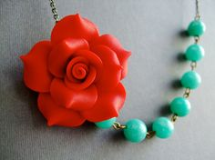 Statement NecklaceBridesmaid Jewelry SetRed Flower by RachelleD, $35.00