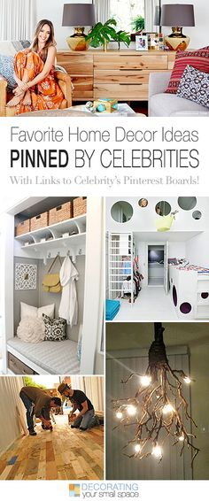 Favorite Home Decor Ideas Pinned by Celebrities • Jessica Alba, Oprah, David Bromstad, Bob Vila, Ty Pennington, Martha Stewart • With links to their boards.