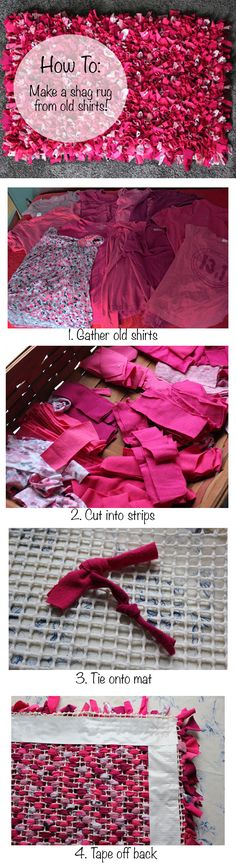Making your own repurposed rug is easy- with old t-shirts Fabric Crafts, Sewing Crafts, Sewing Projects, Craft Projects, Projects To Try, Weekend Projects, Crafts To Make, Fun Crafts, Tapetes Diy