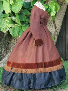 ORIGINAL LADY'S DRESS c.1860s  #Handmade