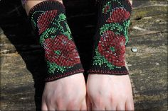 Arm Wrist Warmers Beaded Red Poppies-Unique Handmade Long Beaded Black Fingerless Gloves Warmers Wrist Cuff-Luxurious Cashmere Wool by Daidija on Etsy https://www.etsy.com/listing/233279438/arm-wrist-warmers-beaded-red-poppies