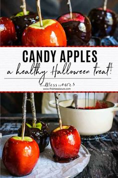 Traditions… that's what the holidays are all about right? One of my family's favorite holidays is Halloween and this year we added a new tradition to our annual line up, making this homemade cider spiced candy apples recipe!! Don't be intimidated....this recipe is WAY easier than you would think! Trick or treat! #halloween #candyapples #thismessisours @calapple @cagrown @stemilt Best Gluten Free Desserts, Gluten Free Cookies, Fun Desserts, Homemade Cider, Healthy Halloween Treats, Spooky Food, Food Categories, Candy Apples, Healthy Snacks For Kids