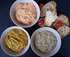 Homemade Bread Spread : Italian basil-tomato-cheese spread, French tuna spread with capers & Simple avocado, garlic spread.