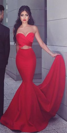 Strapless Mermaid Red Long Prom Dress Evening Dress
