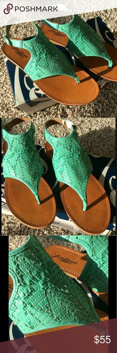 💥 New! Lucky Brand Sandals Never been worn. Seafoam/mint green color. Adjustable ankle strap. Very cute! Lucky Brand Shoes Sandals