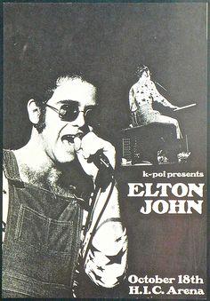 Elton John - 1972 Honolulu, Hawaii Concert Poster | Recordmecca