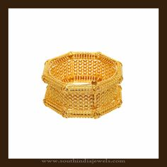 68 Grams Gold Kada Bangle Designs, Gold Bangle Designs from Vummudi Bangaru Jewellers, VBJ Bangles Collections. I Love Jewelry, Gold Jewelry, Gold Necklace, Jewelry Design, India Jewelry, Jewellery, Gold Bangles Design, South India, Anklets