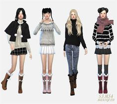 My Sims 4 Blog: Pom Pom Lace Up Boots for Females by Sims 4 Marigold #winter