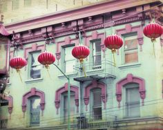 Red Lanterns in Chinatown In San Francisco. Fine Art Photography print.  TITLE ~ Red Lanterns SIZE ~ 8x10  Details Printed on professional photo