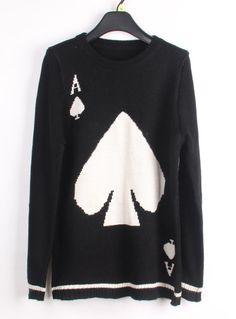 Black Long Sleeve A Spades Pattern Sweater