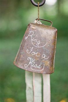 Sweet wedding bells idea - ring for a kiss!