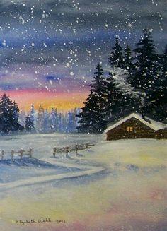 ART~ Snow Flakes falling On A Snowy Winterland ~ Elizabeth Webb Easy Canvas Painting, Winter Painting, Winter Art, Canvas Art, Forest Painting, Winter Cabin, Watercolor Landscape, Watercolor Paintings, Watercolors