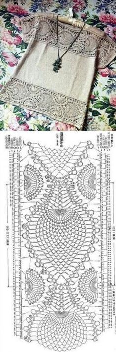 """(ideas de Internet) / ganchillo / la ropa del gancho de la… [ """" (Ideas from the Internet) & Crochet & Women& clothes hook."""", """"Great idea for Scarf pattern,"""" ] # # # # # # Filet Crochet, Pull Crochet, Crochet Yoke, Mode Crochet, Crochet Fabric, Crochet Motifs, Crochet Diagram, Crochet Blouse, Crochet Chart"""