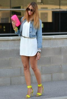 Amazing White Dress with Jeans Jacket and Neon Colored Handbag. Suitable Accessories