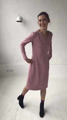 Minimalist Clothing Women Pink Dress Petite Dress Midi Dress Wrap Dress Flare Dress Winter Dress Elegant Dress Long Sleeve Dress