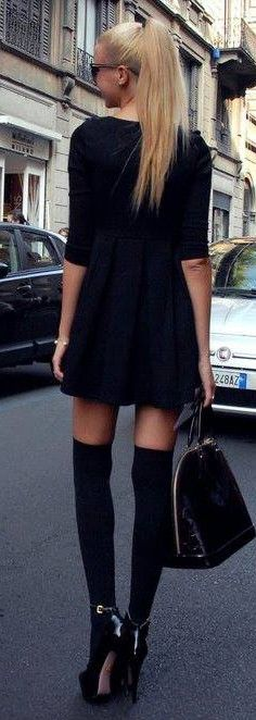 black street style ♥✤ | KeepSmiling | BeStayClassy…over the knee socks with heels