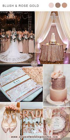 glamorous blush and rose gold weddig colors Elegant Wedding Colors, Blush Wedding Colors, Gold Wedding Theme, Gold Wedding Decorations, Rose Wedding, Wedding Color Schemes, Wedding Themes, Wedding Ideas, Dream Wedding