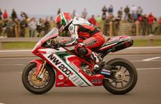 Michael Rutter- must've ridden for every manufacturer and all UK series. Here at the North West 200 on a Ducati.
