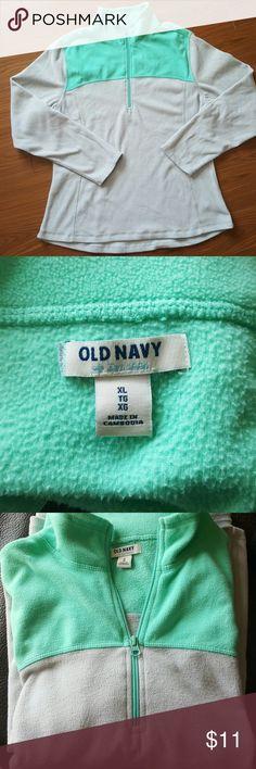 Old Navy Fleece Size XL fleece zip-up from Old Navy.  Mint green and light grey in color.  In excellent condition!! Old Navy Tops Sweatshirts & Hoodies