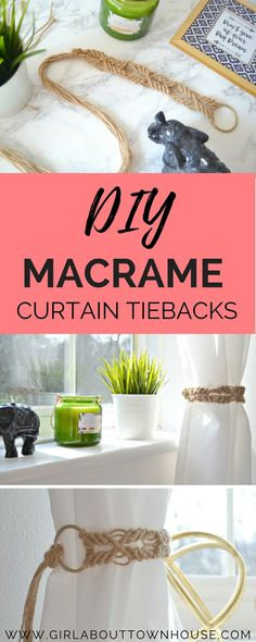 Easy DIY macrame curtain tie backs. A simple step-by-step tutorial, that's perfect for beginners as it only uses one macrame knot.