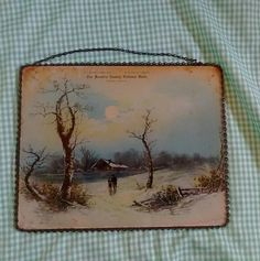 Antique Flue Cover, Winter Scene Advertising Runnels County National Bank, Miles Texas, Early 1900s Era by MendozamVintage on Etsy