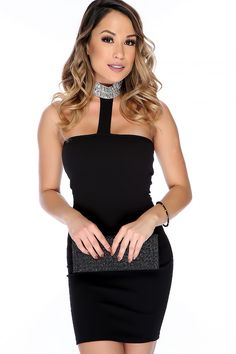 Wear this sexy and subtle dress for the perfect date night look! Featuring; strapless, textured, sequined, beaded, mock neck, back button closure. Followed by a fitted wear. 95% Polyester 5% Spandex